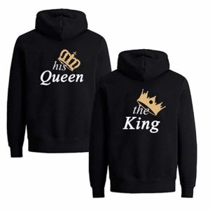 Matching Couple King and Queen His and Her Hooded Sweatshirt Pullover Hoodies