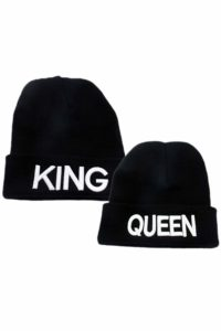 King Queen Couple Women Men Gift Sweater Knit Hat Daily Keep Warm Chapeau