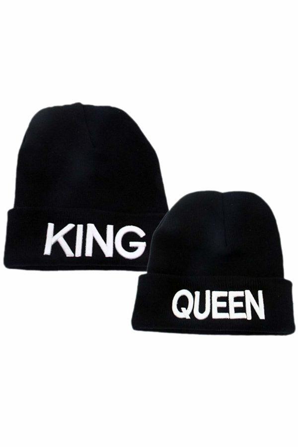 King Queen Couple Women Men Gift Sweater Knit Hat Daily Keep Warm Chapeau