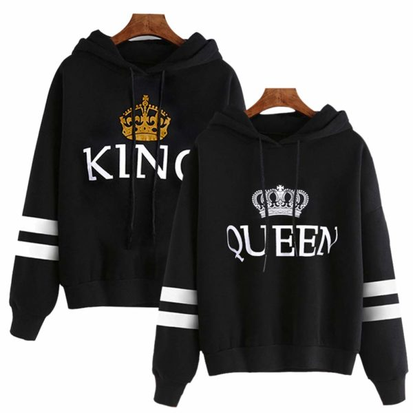 Bangerdei Matching Couple King and Queen His and Her Hooded Sweatshirt Pullover Hoodies Striped Black Women S + Men 2XL