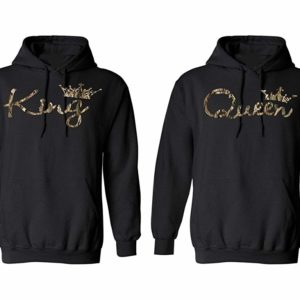 King Queen Camouflage Couple Hoodies (Man XL - Woman Large)