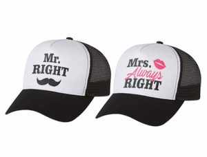 Mr & Mrs Gift for Couples, Anniversary, Married Couples Matching Set Mesh Caps