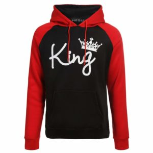 Couples Lover Matching Look Sweatshirt 2019 Unisex Women Men Casual Hooded Hoodies King and Queen Letter Pullovers,King,M