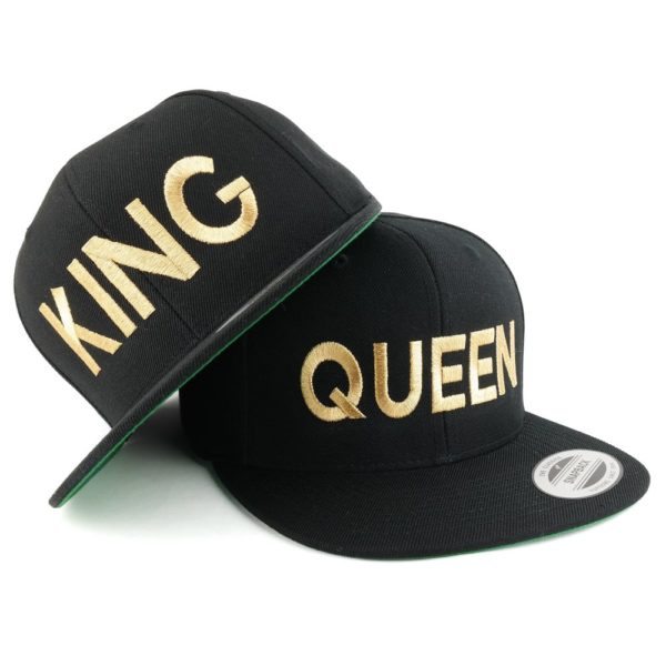 Trendy Apparel Shop King and Queen Gold Embroidered Flat Bill Structured Baseball Cap