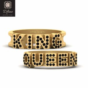 His and Her King and Queen Matching Wedding Band Set Black Diamond King and Queen Couple Rings
