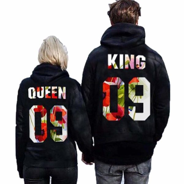 Qenci Matching Hoodie Set, King & Queen Pullover Casual Print Hoodie Sweatshirt for Couples