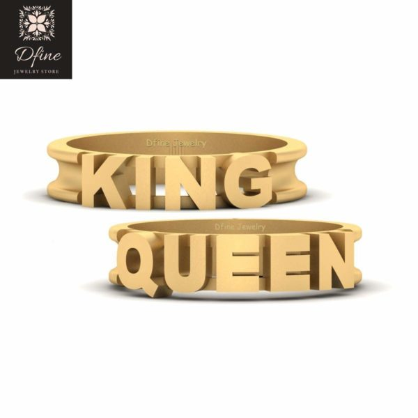 His Queen and Her King Couple Rings Solid 14k Yellow Gold King and Queen Matching Wedding Band Set