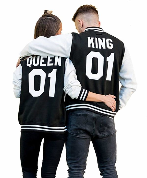 King Queen Sweatshirts Matching Couple Sweatshirts Hooded Baseball Jacket Unisex