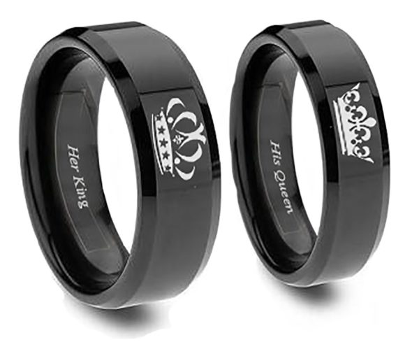 Southern Designs Matching Couples King and Queen Ring Set in Black Titanium - His and Hers for Promise Wedding Friendship Jewelry