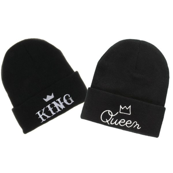 MIUNIKO Couples Lovers Fashion King and Queen Winter Warm Knit Skull Cap Ski Beanie Hats, 2-Piece Set Black