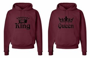 FASCIINO Matching His & Hers Couple Hooded Sweatshirt Set - King and Queen Crowns