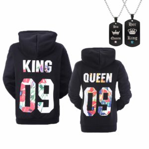 YJQ King Queen Matching Couple His and Her Pullover Hoodie Sweatshirt for Valentine's Day Anniversary