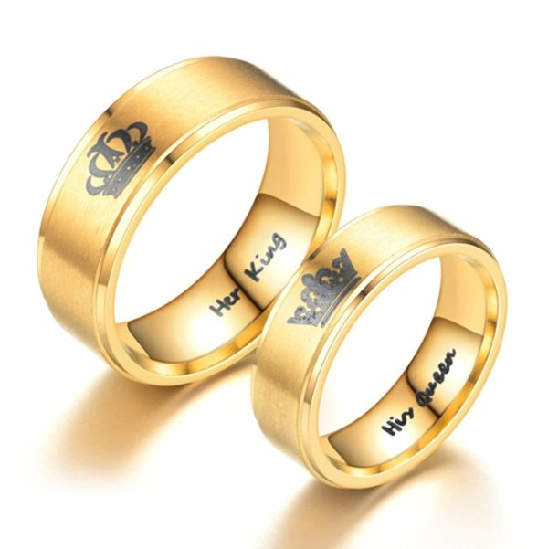 Her King His Queen Ring Gold Tone Stainless Steel Engagement Wedding Band Promise Anniversary Rings for Men Women