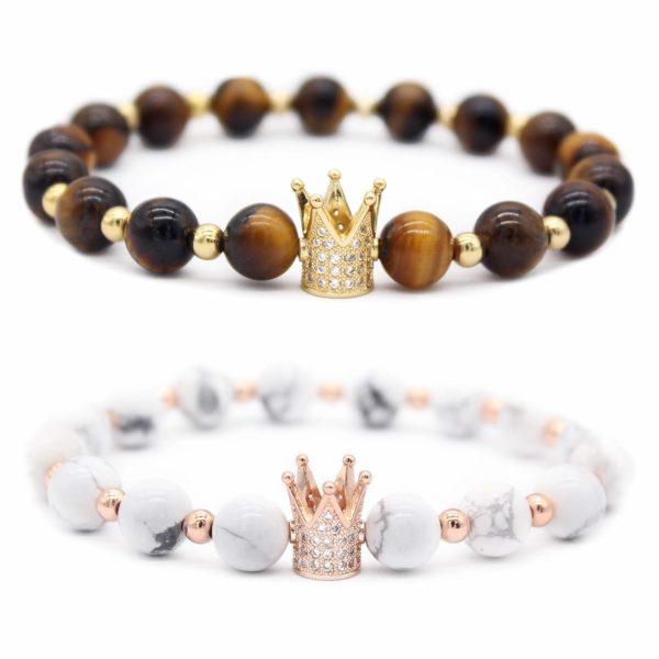 "Gemfeel 8mm Black Labradorite & White Howlite CZ Her King/His Queen 8mm Beads Couple Bracelet, 7.6""+7.2"""