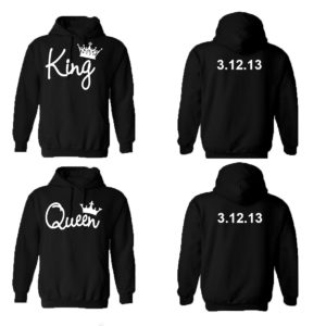 King Queen Couple Hoodies, Custom Dates On The Back. Customize it! (Man XL - Woman 2XL)
