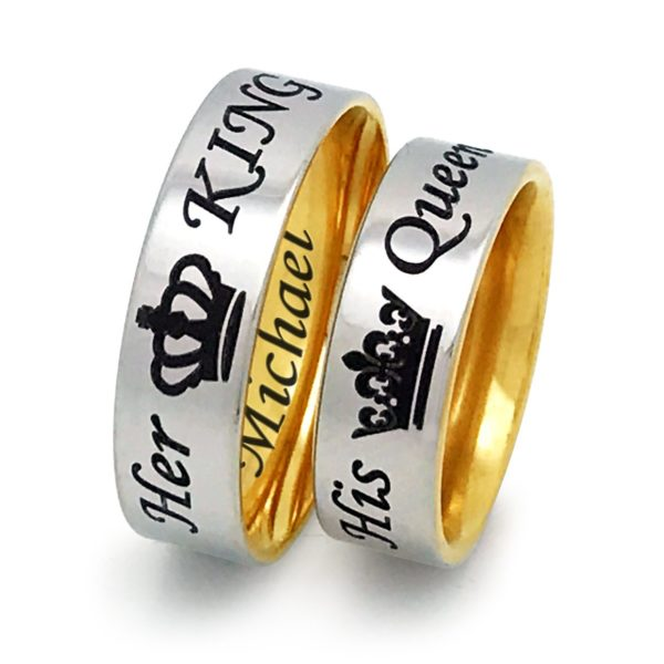 King and Queen Rings, His & Hers Stainless Steel Ring, Anniversary Rings, Couples Ring SSR616 (With Inside Engraving)