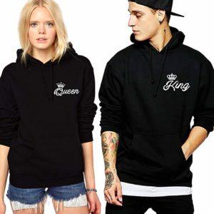 King Queen Hoodies Matching Couple Hoodies Pullover His& Her Sweatshirts Crown (Black, King-L+Queen-M)