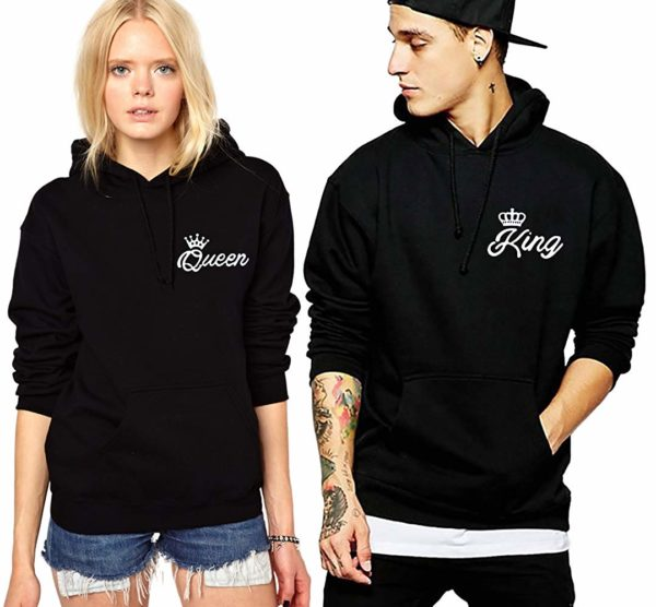 King Queen Hoodies Matching Couple Hoodies Pullover His& Her Sweatshirts Crown (Black, King-L+Queen-M)