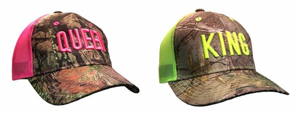 King and Queen Couple Camo Adult Adjustable Mesh Hats, Sold As A Set