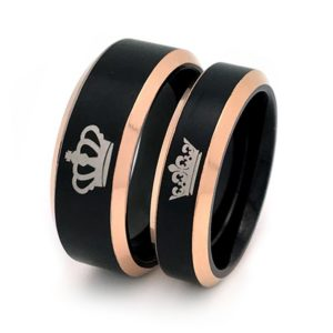 Crown Ring, King and Queen Rings, Black Couples Ring Set, His and Hers Titanium Ring, Anniversary Rings TRB205 (With Inside Engravings)