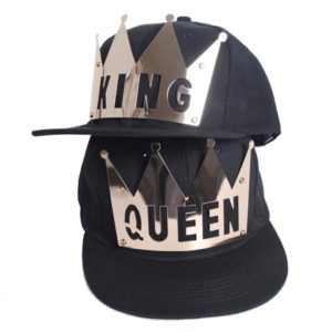 D-Sun King & Queen Snapback Hats Couple Hip Hop Flat Brim Baseball Cap Hat