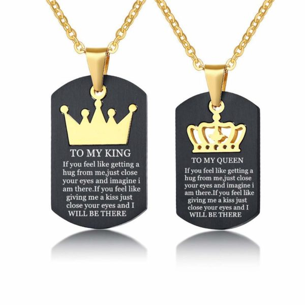 LF TO MY KING QUEEN Necklace,Stainless Steel Personalized Name Date Customize His Queen Her King Crown Couple Dog Tag Necklace Sentimental Motivational Quote Message Separable Pendant for Lover