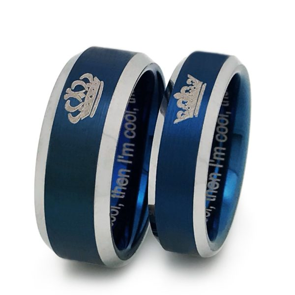 King and Queen Rings, Personalized Couples Ring Set, His and Hers Tungsten Ring, Anniversary Rings (With Inside Engraving)TCR383