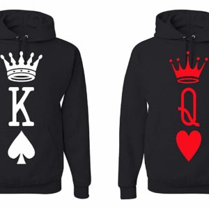 King and Queen Matching Cards Hooded Sweatshirt Couples Matching Hooded Sweatshirt (Men's M - Women's XL) Black