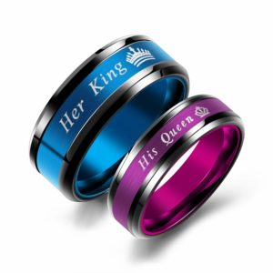 Iflytree 2pcs King and Queen Rings Wedding Engagement Anniversary Band His Hers Couples Ring Stainless Steel Matching Ring Sets for Him and Her
