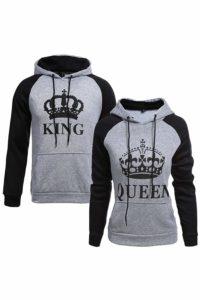 Women Couple Sweatshirt King Queen Pullover Hoodie Grey Wowen S/Men M