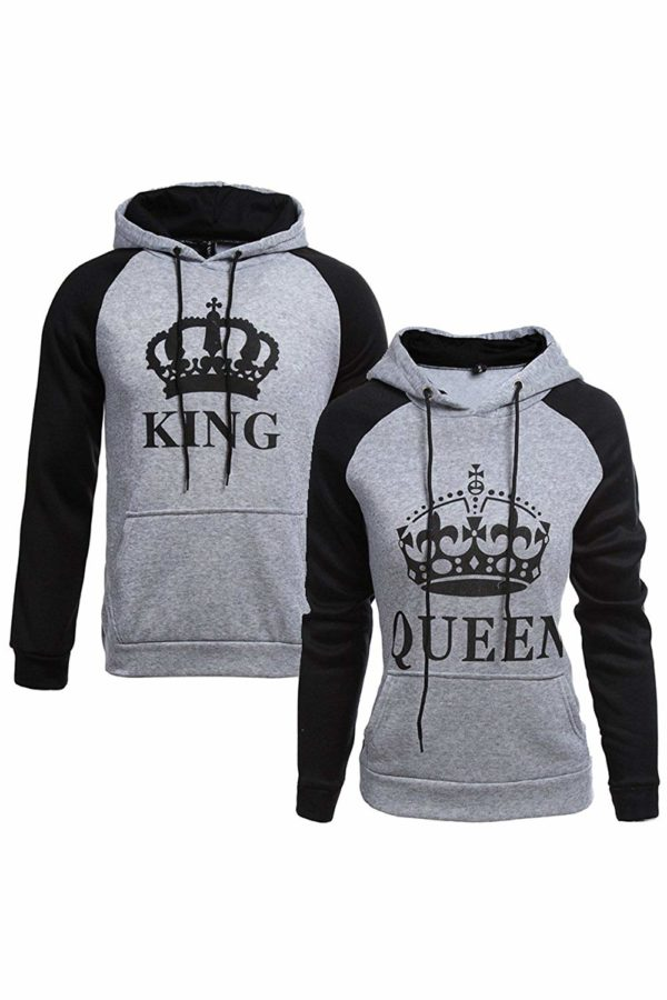 Women Couple Sweatshirt King Queen Pullover Hoodie Grey Wowen S/Men M