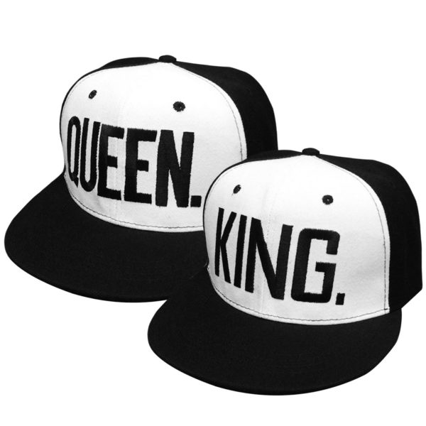 2 PCS King and Queen Adjustable Hip-Hop Hats 3D Fashion Embroidered Lovers Couples Snapback Caps