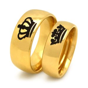 7mm/5mm King Queen Rings, Black Couples Ring Set, His Hers Gold Plated Tungsten Ring, Anniversary Rings SHJTCR382