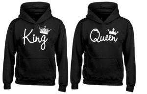 YSM Couple Hoodie - King & Queen Matching His and Her Hoodies Black