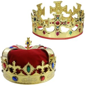 Funny Party Hats Adjustable Gold Crown and a Red Jeweld Crown