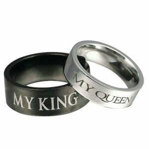 Aokarry His and Her 8MM Couple Ring, Stainless Steel My King and My Queen Ring