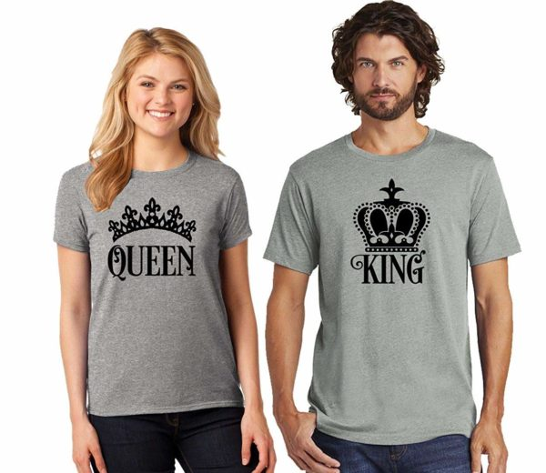 Black King and Queen Matching Couple T Shirts for His and Her -Price for 1