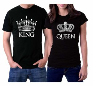 picontshirt King and Queen Black Couple T-Shirts White Crowns