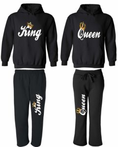 King & Queen - Matching Couple Hoodies & Pocketed Sweatpants