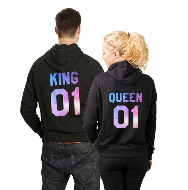King 01 Queen 01 Galaxy Pattern Matching Couple Hoodies (Black)-L/L