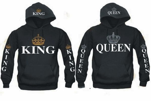 King and Queen Hoodies for Couples Matching Valentine's Gift (King M/Queen S) Black